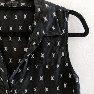 Theory Duria Black White Silk Star Blouse